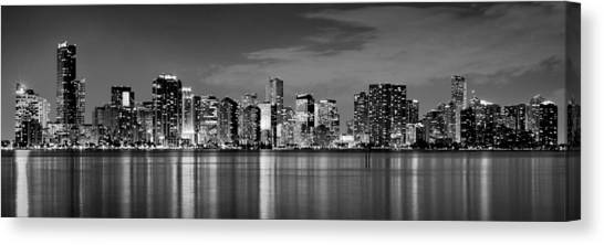 Miami Skyline Canvas Print - Miami Skyline At Dusk Black And White Bw Panorama by Jon Holiday