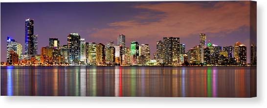 Miami Skyline Canvas Print - Miami Skyline At Dusk Sunset Panorama by Jon Holiday