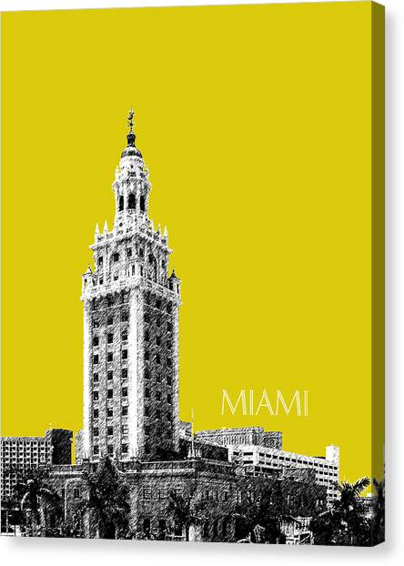 Miami Skyline Canvas Print - Miami Skyline Freedom Tower - Mustard by DB Artist