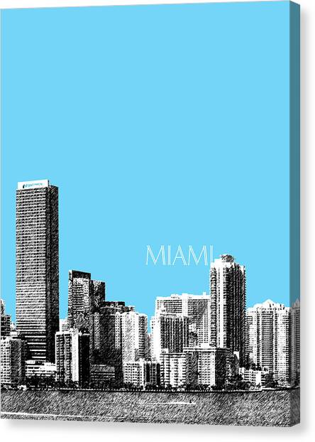 Miami Skyline Canvas Print - Miami Skyline - Sky Blue by DB Artist