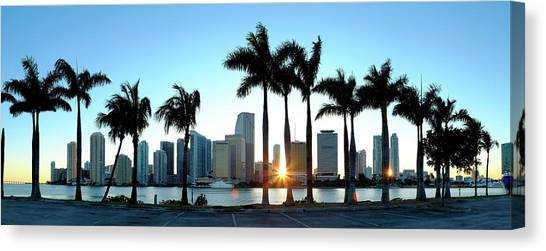 Miami Skyline Viewed Over Marina Canvas Print by Travelpix Ltd