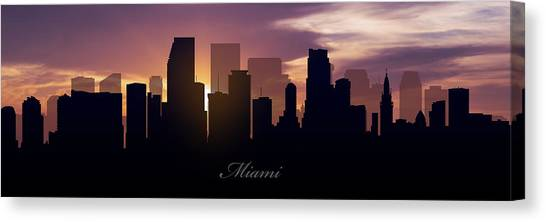 Miami Skyline Canvas Print - Miami Sunset by Aged Pixel
