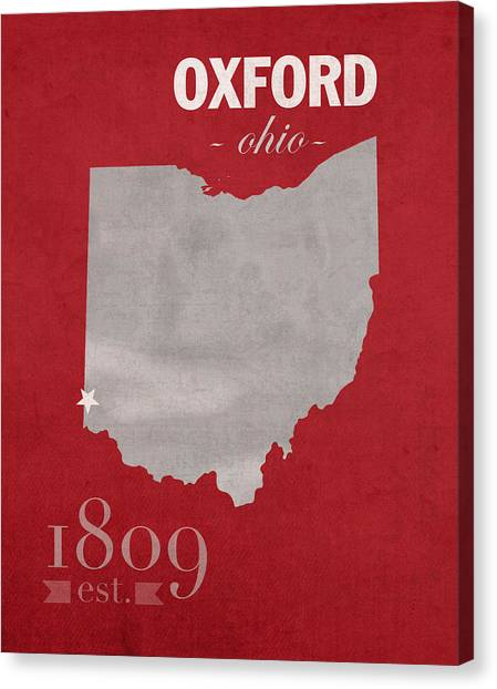 Ohio University Canvas Print - Miami University Of Ohio Redhawks Oxford College Town State Map Poster Series No 064 by Design Turnpike
