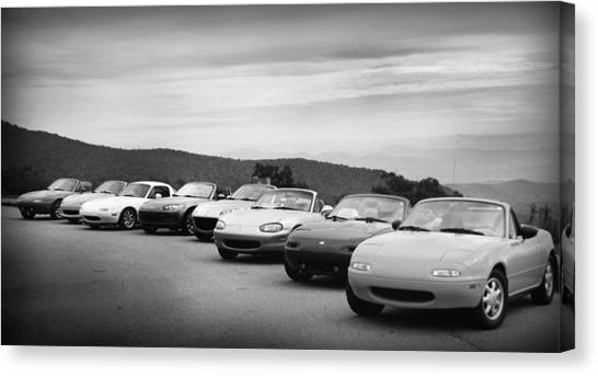 Canvas Print featuring the photograph Miatas by Kelly Hazel