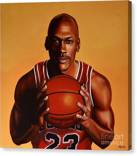Charlotte Bobcats Canvas Print - Michael Jordan 2 by Paul Meijering