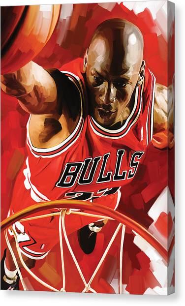 Basketball Players Canvas Print - Michael Jordan Artwork 3 by Sheraz A