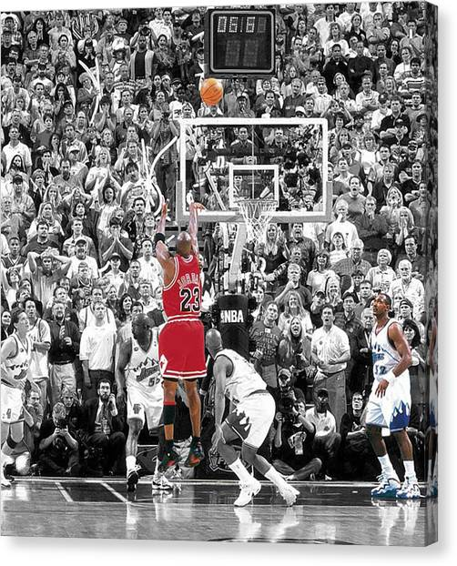 Utah Jazz Canvas Print - Michael Jordan Buzzer Beater by Brian Reaves