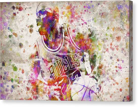 Slam Dunk Canvas Print - Michael Jordan In Color by Aged Pixel