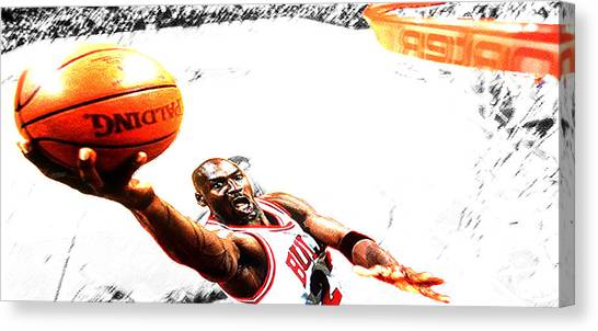 Utah Jazz Canvas Print - Michael Jordan Lift Off by Brian Reaves