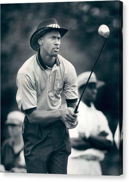 Slam Dunk Canvas Print - Michael Jordan Looks At Golf Shot by Retro Images Archive