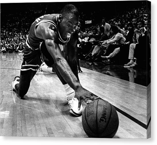 Three Pointer Canvas Print - Michael Jordan Reaches For The Ball by Retro Images Archive