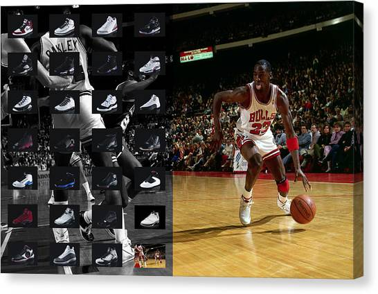 Chicago Bulls Canvas Print - Michael Jordan Shoes by Joe Hamilton
