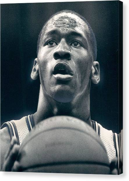 Charlotte Bobcats Canvas Print - Michael Jordan Shots Free Throw by Retro Images Archive