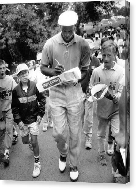 Three Pointer Canvas Print - Michael Jordan Signing Autographs by Retro Images Archive