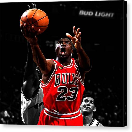 Utah Jazz Canvas Print - Michael Jordan Soft Touch by Brian Reaves