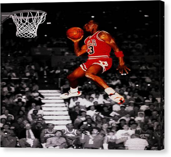 a30ecac3831d Jumpman Canvas Print - Michael Jordan Suspended In Mid Air by Brian Reaves