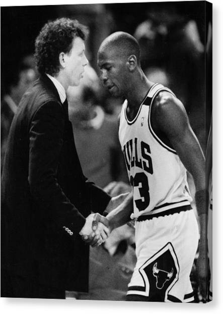 Charlotte Bobcats Canvas Print - Michael Jordan Talks With Coach by Retro Images Archive