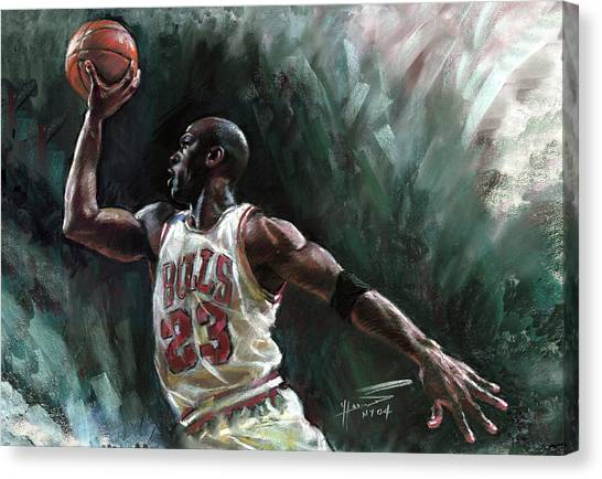 Athlete Canvas Print - Michael Jordan by Ylli Haruni