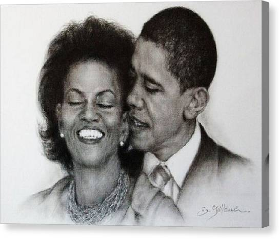 Michelle Et Barack Obama Canvas Print - Michelle Et Barack Obama by Guillaume Bruno