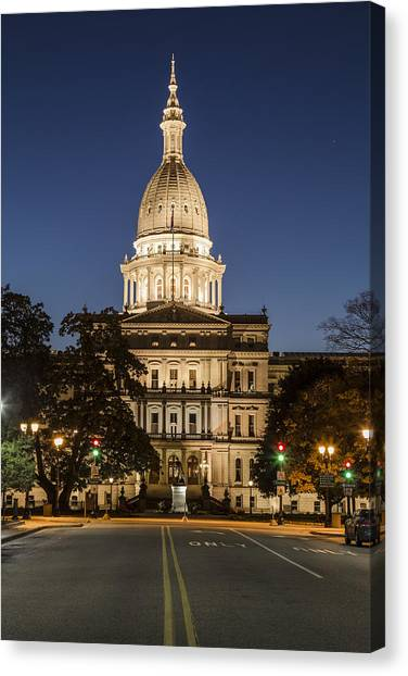 Michigan capitol canvas prints fine art america michigan capitol canvas print michigan capitol and michigan ave by john mcgraw malvernweather Images