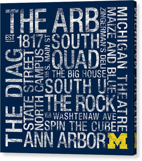 Arbor Canvas Print - Michigan College Colors Subway Art by Replay Photos