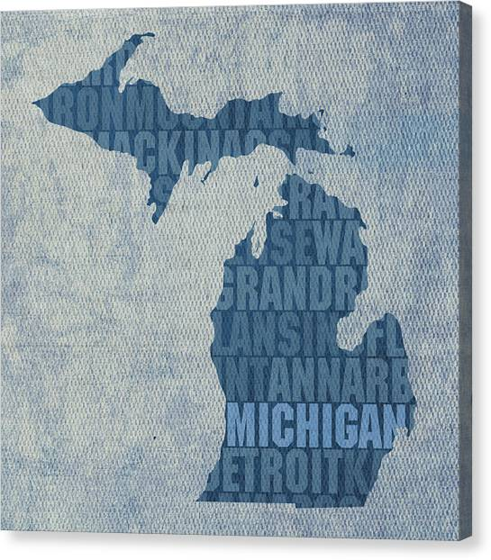 Word Art Canvas Print - Michigan Great Lake State Word Art On Canvas by Design Turnpike