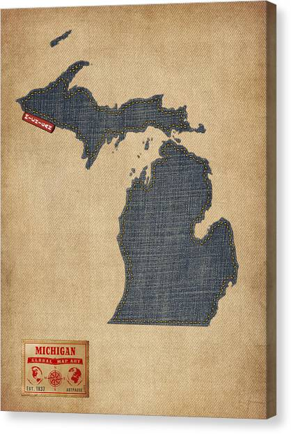 Map Canvas Print - Michigan Map Denim Jeans Style by Michael Tompsett