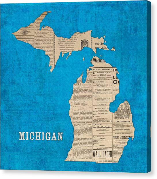 Arbor Canvas Print - Michigan Map Made Of Vintage Newspaper Clippings On Blue Canvas by Design Turnpike