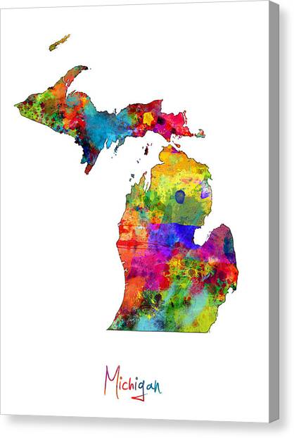 Detroit Canvas Print - Michigan Map by Michael Tompsett
