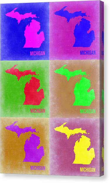 Michigan Canvas Print - Michigan Pop Art Map 2 by Naxart Studio