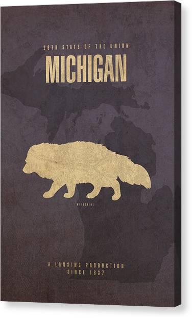 Michigan State University Canvas Print - Michigan State Facts Minimalist Movie Poster Art  by Design Turnpike