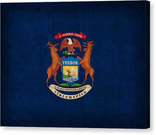 Michigan State Canvas Print - Michigan State Flag Art On Worn Canvas by Design Turnpike