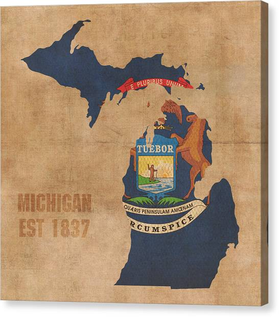 Michigan State Canvas Print - Michigan State Flag Map Outline With Founding Date On Worn Parchment Background by Design Turnpike