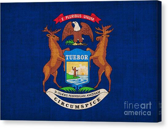 Michigan State Canvas Print - Michigan State Flag by Pixel Chimp