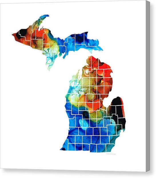 Troy University Troy Canvas Print - Michigan State Map - Counties By Sharon Cummings by Sharon Cummings