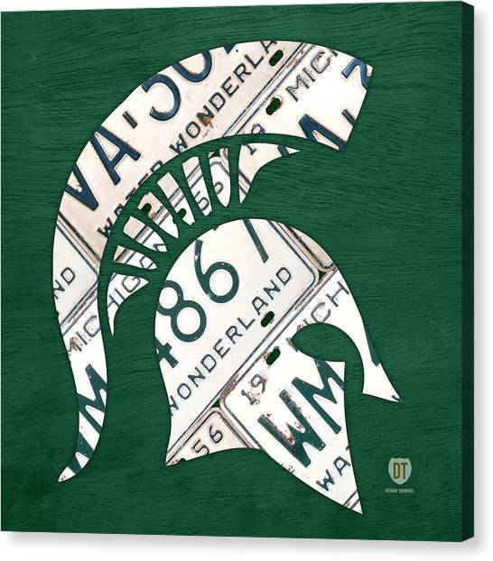 Michigan State University Canvas Print - Michigan State Spartans Sports Retro Logo License Plate Fan Art by Design Turnpike