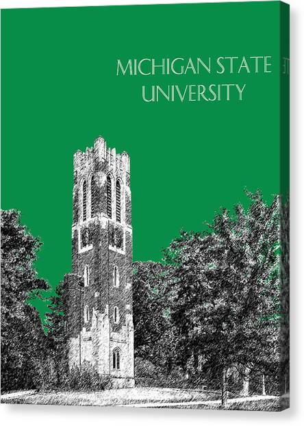 Colleges And Universities Canvas Print - Michigan State University - Forest Green by DB Artist