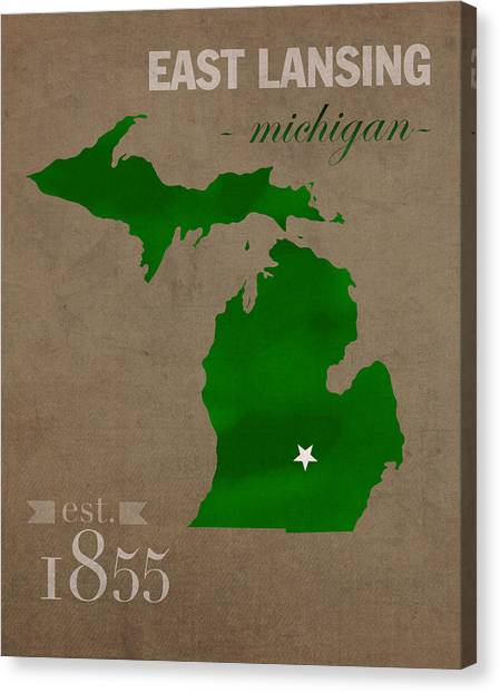 Big Ten Canvas Print - Michigan State University Spartans East Lansing College Town State Map Poster Series No 004 by Design Turnpike