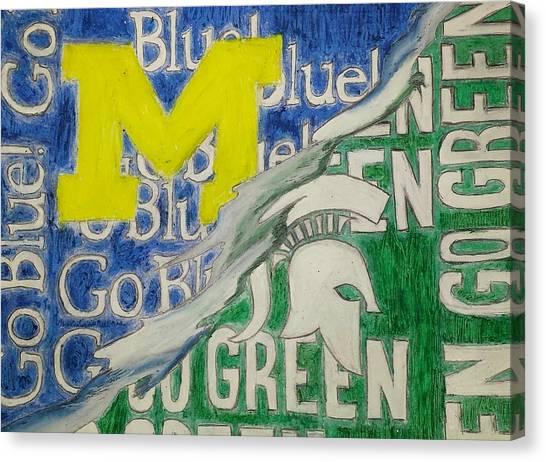 Espn Canvas Print - Michigan Vs Michigan State by Tyrone Scott