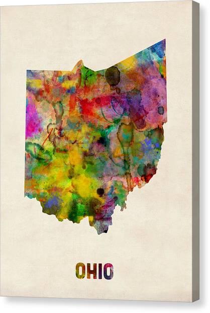 Columbus Canvas Print - Ohio Watercolor Map by Michael Tompsett