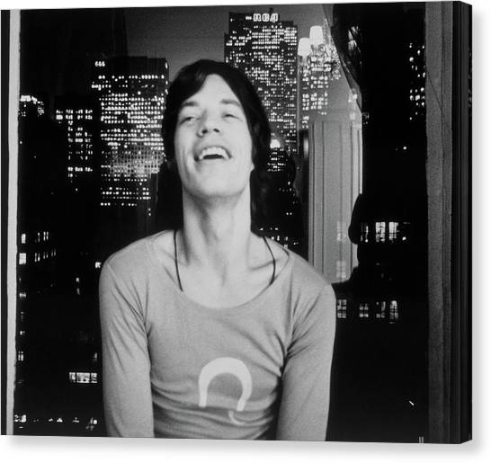 Mick Jagger Laughing Canvas Print