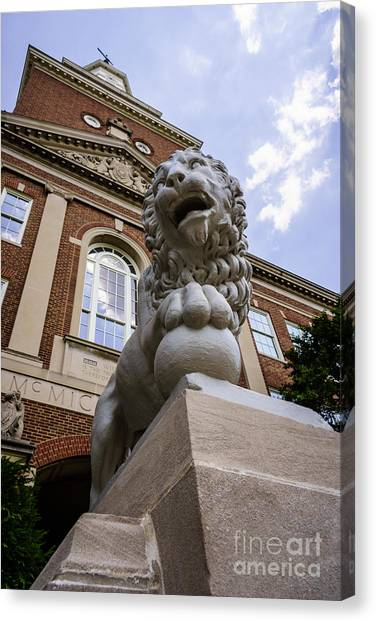 University Of Cincinnati Canvas Print - Mick Lion At Mcmicken Hall University Of Cincinnati  by Paul Velgos