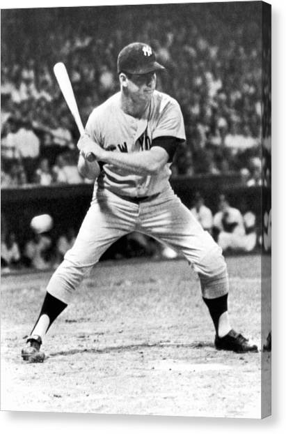Mickey Mantle Canvas Print - Mickey Mantle At Bat by Underwood Archives