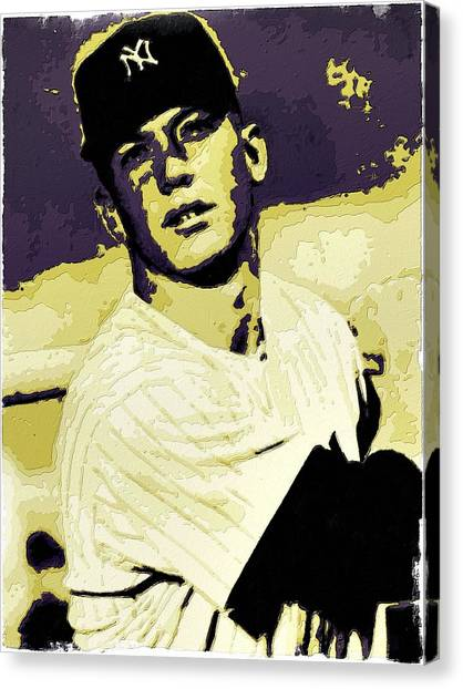 Mickey Mantle Canvas Print - Mickey Mantle Poster Art by Florian Rodarte