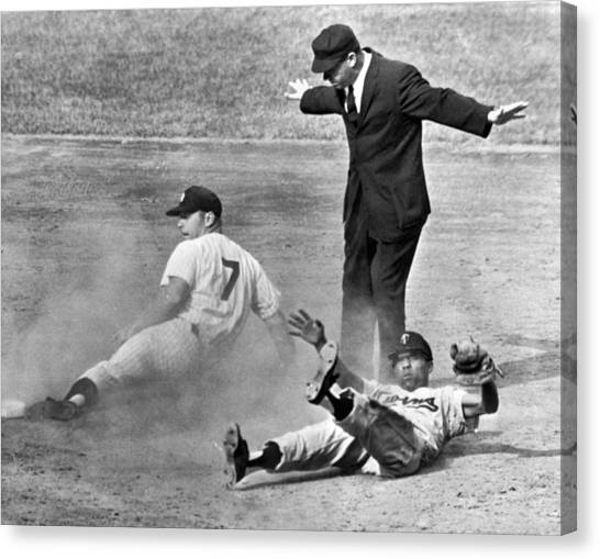 Baseball Players Canvas Print - Mickey Mantle Steals Second by Underwood Archives