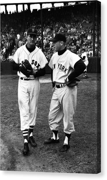 Fenway Park Canvas Print - Mickey Mantle With Ted Williams by Retro Images Archive