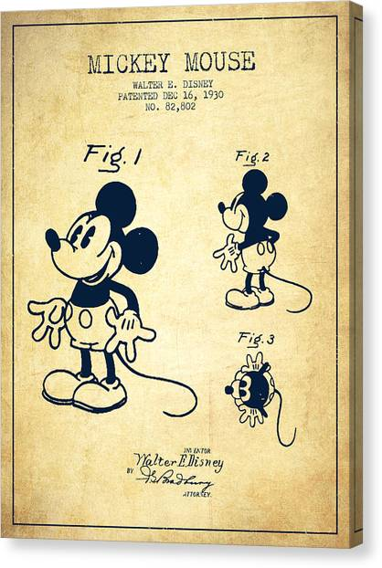 Mice Canvas Print - Mickey Mouse Patent Drawing From 1930 - Vintage by Aged Pixel