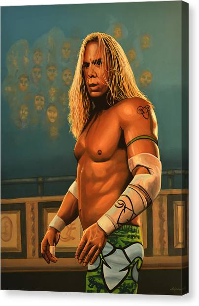 Fighting Canvas Print - Mickey Rourke by Paul Meijering
