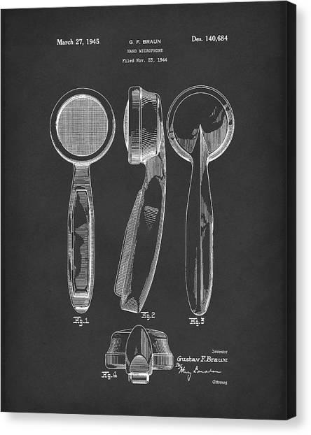 Ham Canvas Print - Microphone 1945 Patent Art Black by Prior Art Design