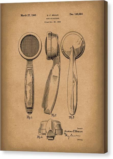 Ham Canvas Print - Microphone 1945 Patent Art Brown by Prior Art Design